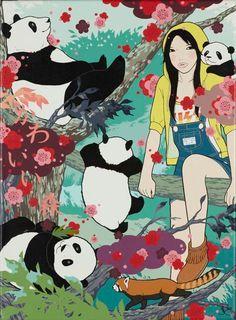 Yumiko Kayukawa grew up in the small town of Naie in Hokkaido, Japan.  Girl with pandas