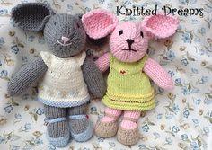 Handmade Knitted Bunny Stuffed Toy 13.5 35cm tall. by tatocka, $45.00