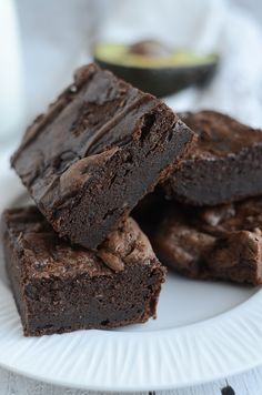 Avocado Brownies - fudgy and delicious brownies made with absolutely no butter or oil! You won't believe how delicious these brownies are!