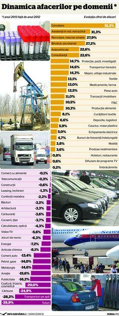 Care sunt domeniile de afaceri care au mers in 2013 fata de 2012. Statistici concrete si rezultate interesante.