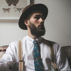 The Modern Groom. Solomon & Emilie at Papplewick Pumping Station - Images by Grace Elizabeth Photography #wedding #rusitc #men #man #suit #tie #groom #hat #braces