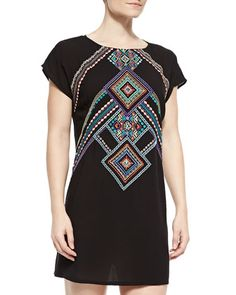 Carmenita+Embroidered+Open-Back+Tunic+by+Nanette+Lepore+at+Neiman+Marcus.