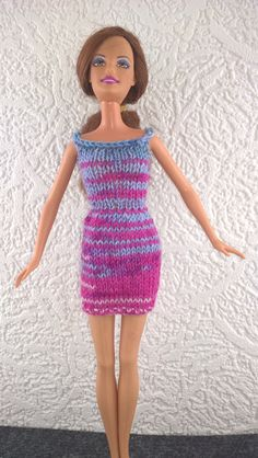 Pretty grey and pink Barbie dress. Simply styled summer dress for 12inch fashion doll. OOAK hand knit Barbie dress. Doll clothes. by Nobodyknitsitbetter on Etsy