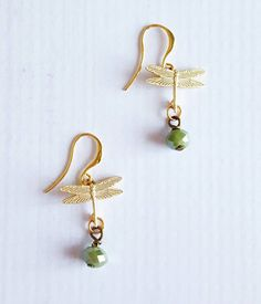 Gold dragonfly earrings - petite earrings - dangly dragonfly earrings - bohemian…