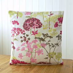16 inch dandelion meadow decorative pillow cover, cerise pink, lime green, pink burgundy magenta leaves,  40 cm cushion cover