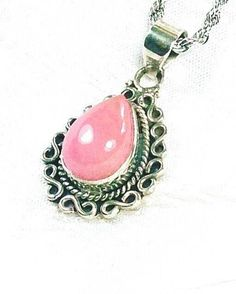 Pink Opal Necklace In Bali-Style Sterling Silver, Handmade Jewelry By NorthCoastCottage Jewelry Design & Vintage Treasures. You dont see Peruvian pink opals often, but when you do you marvel at their exquisite color. Here, one is set in beautiful Bali-style sterling silver filigree