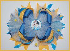 snow white princess hair bow ott bow stacked by RoshelysBowtique, $10.00