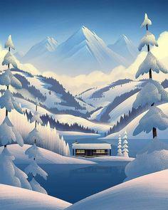 Winter Illustration, Digital Illustration, La La Land Art, Ski Posters, Winter Scenery, Winter Photos, Environment Concept Art, Hippie Art, Winter Landscape