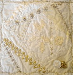 I ❤ crazy quilting & ribbon embroidery . . . White on white finished block 3 CQ ~By Susan Shufelt