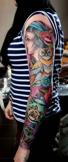 Girls sleeve tattoo- pulled together perfectly
