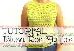 Crochet y Dos agujas: Tutorial de Blusa sin mangas tricot / CURSO ONLINE...
