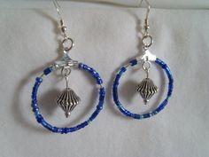 Beaded drop hoop earrings   sterling silver with by MaudeTeacup, £2.00