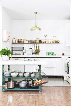 Love this kitchen. White, emerald green, rustic.