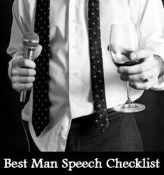 Best Man Speech Checklist - Knot For Life Groom's Speech, Best Man Speech, Best Man Wedding Speeches, Best Speeches, Groom Speech Examples, Wedding Toast Samples, Maid Of Honor Speech, Wedding Toasts, The Orator