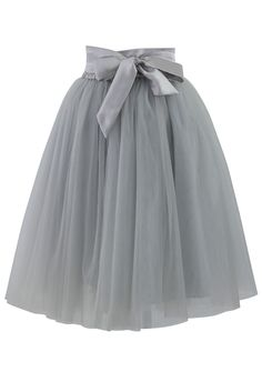Gray Skirt with Ribbon Tie #ustrendy www.UsTrendy.com