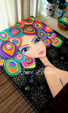 Pointillism, Dotillism, Dot Art, Mandala Art, on a frame.Beautiful painting of girl with multi colored hair by Romi LerdaCould be done with Quilling Mandala Art, Mandala Painting, Dot Art Painting, Fabric Painting, Art Diy, Inspiration Art, African Art, Rock Art, Doodle Art