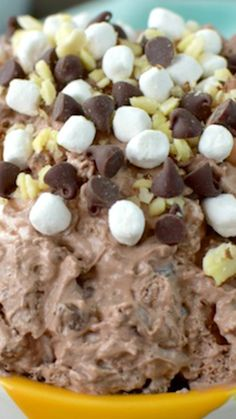 """Rocky Road Fluff Salad ~ This chocolate pudding dessert is a fun """"salad"""" to serve for picnics, barbecues, or after dinner."""