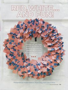 your own Fourth of July Wreath! DIY Mini toothpick flags - place them in an inexpensive styrofoam wreath.Mini toothpick flags - place them in an inexpensive styrofoam wreath. Patriotic Party, 4th Of July Party, Fourth Of July, 4th Of July Wreath, Holiday Wreaths, Holiday Crafts, Holiday Fun, Holiday Ideas, Flag Wreath