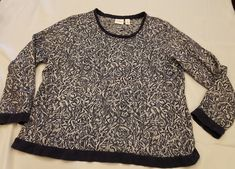 Chicos Weekends sz 2 large textured static look long sleeve sweater grungy trim   Clothing, Shoes & Accessories, Women's Clothing, Sweaters   eBay!