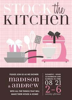 0b77e9a99a3b Stock the Kitchen Pink Bridal Shower Invitation Kitchen Shower