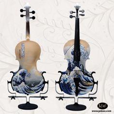 """violon customisé """"la vague"""" de Hokusai"""