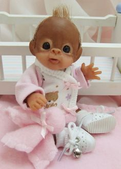 OOAK Baby Orangutan Monkey Girl Sculpted Polymer Clay Art Doll Teddy Bear