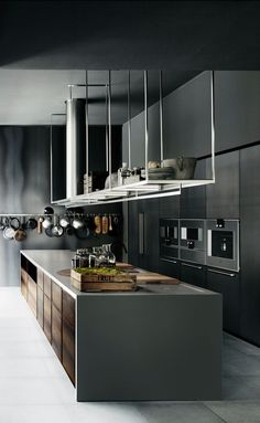 Black wood modern industrial wood kitchen design