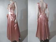 Early 1940s Rose Petal Pink Satin and Lace Evening Dress
