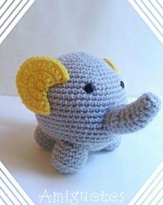 Elefantito super tierno, fácil y rápido de hacer. Anímense!  #crochet #patron…