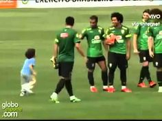 So Cute! Marcelo's son plays with David Luiz's hair at Brazil training