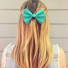 Teal PolkaDot Hair Bow by LiaBellaShop on Etsy, $5.00