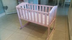 Shabby chic baby girls light pink wooden rocking crib cot