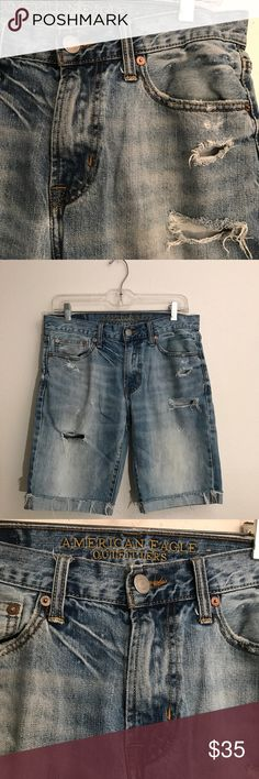 American Eagle Denim Ripped Cuffed Shorts Minimal wear signs. No stains or tears  100% Cotton  No trading ✖️ 10% off 2 items or more bundles ✔️ Prices are VERY negotiable 💲 Measurements & additional pictures will be provided upon request 📷 Next day shipping 📦 Pet friendly home 🐶 American Eagle Outfitters Shorts Jean Shorts