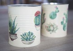 Tin Can Crafts, Diy And Crafts, Diy Plant Stand, Metal Tins, Ideas Para, Cactus, Recycling, Diy Projects, Tableware