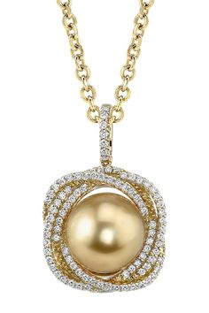 Radiance Pearl-14K Yellow Gold 11mm Golden South Sea Pearl & Diamond Braided Pendant Necklace