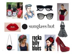 """""""Shades of You: Sunglass Hut Contest Entry"""" by gothicvamperstein ❤ liked on Polyvore featuring Burberry, pinup, rockabilly and shadesofyou"""