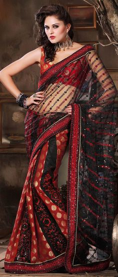 #Black and #Red Net #Saree with #Blouse @ $75.00 | Shop @ http://www.utsavfashion.com/store/sarees-large.aspx?icode=skk14039