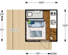 NOMAD-microhome-interior-microhome-plan Add-ons include stair drawers for extra storage, a surrounding deck, a sliding sun shade and solar power, gray water and rain water collection systems.