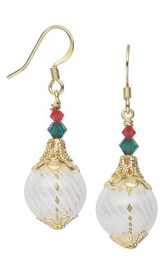 Jewelry Design - Ornament Earrings with Swarovski Crystal Beads and Gold-Plated Brass Bead Caps - Fire Mountain Gems and Beads