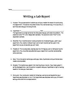 Science Lab Report Template For Older Students  Classroom Ideas