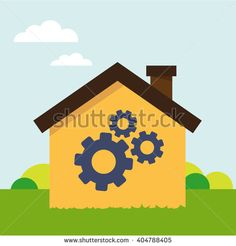 Vector illustration concept of repair or build house.