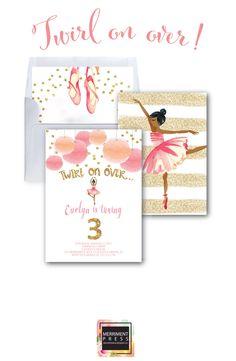 Ballerina Invitation // Ballet Invitation // Gold Glitter // Ballet Birthday Party // Ballerina Party // Watercolor // VIENNA COLLECTION by MerrimentPress on Etsy https://www.etsy.com/listing/281358530/ballerina-invitation-ballet-invitation
