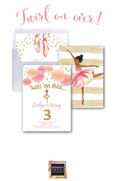 Ballerina Invitation // Ballet Invitation // Gold Glitter // Ballet Birthday Party // Ballerina Party // Watercolor // VIENNA COLLECTION by MerrimentPress on Etsy https://www.etsy.com/listing/281358530/ballerina-invitation-ballet-invitation