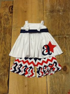 Girls Patriotic Outfit. Peasant Top Ruffle Pants, Capris, or Shorts Set. Personalized Initial. Star and Sash Detail. By EverythingSorella on Etsy, $59.50