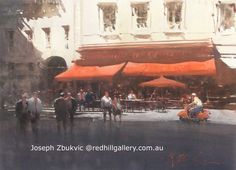 "Watercolour painting, ""The Red… Art Gallery, Artist Painting, Joseph Zbukvic, Joseph, Cityscape, Street Scenes, Watercolor Architecture, Art, Watercolor Landscape"
