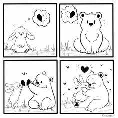 Cute Couple Comics, Couples Comics, Bunny And Bear, Cute Bears, Love Can, Cupid, Cute Couples, Rabbit, Royalty