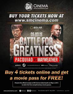 The long wait is over! The Fight of the Century is REALLY happening!   Witness the Battle For Greatness - PACQUIAO vs MAYWEATHER live today at SM Cinema Sta. Mesa at the 4th Floor of SM CITY STA. MESA!  Buy your tickets NOW!!  #iLoveSM #iLoveSMStaMesa ‪#‎goManny‬ ‪#‎BattleForGreatness‬ ‪#‎MayPac‬ ‪#‎PacquiaoMayweather‬ ‪#‎PinoyPride‬ ‪#‎SMCinema‬