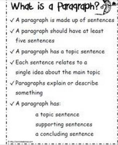 How to write a paragraph Graphic from http://worksheetplace.com/
