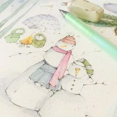 w is for winter. plus yummy color to make it more fun. #danielledonaldsonbooks #danielsmithwatercolors #creativepracticing #danielledonaldsonart