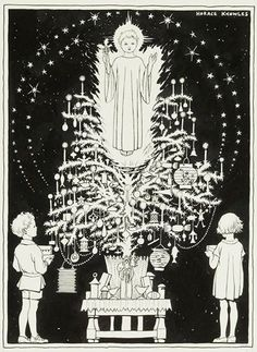 """Advent image 21: Horace J. Knowles  this Christmas tree from his 1932 """"First Book of Prayers""""."""